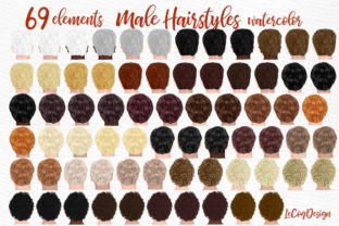 Print on Demand: Hairstyles Clipart Male Hairstyles Gráfico Ilustraciones Por LeCoqDesign
