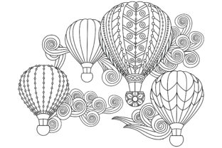 Hot Air Balloons in Doodle Style. Graphic Coloring Pages & Books Adults By ekradesign