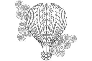 Hot Air Balloons in Floral Style Graphic Coloring Pages & Books Adults By ekradesign