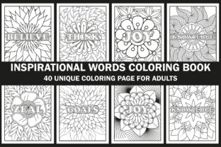 Inspirational Words Coloring Book Pages Graphic Coloring Pages & Books Adults By Creative Design Studio