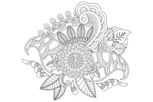 Outline Flower Pattern in Mehndi Style Graphic Coloring Pages & Books Adults By ekradesign