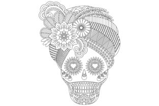 Skull Coloring Page with Flower Style. Graphic Coloring Pages & Books Adults By ekradesign