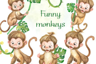 Funny Monkeys Watercolor Clipart, Jungle Graphic Add-ons By EvArtPrint