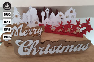 Papercut 3D Christmas Village Graphic Objects By CUT4FUN