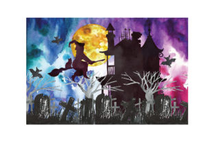 Haunted House Watercolor Halloween Background Halloween Craft Cut File By Creative Fabrica Crafts