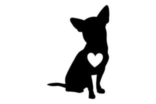 Chihuahua Silhouette with Love Heart Dogs Craft Cut File By Creative Fabrica Crafts
