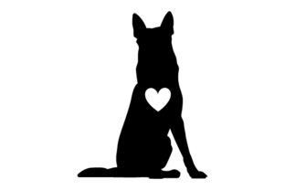 German Shepherd Silhouette with Love Heart Dogs Craft Cut File By Creative Fabrica Crafts