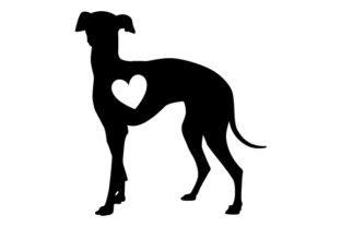 Greyhound Silhouette with Love Heart Dogs Craft Cut File By Creative Fabrica Crafts