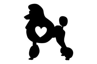 Poodle Silhouette with Love Heart Dogs Craft Cut File By Creative Fabrica Crafts