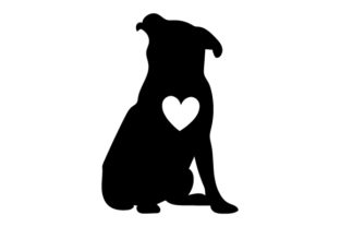 Pug Silhouette with Love Heart Dogs Craft Cut File By Creative Fabrica Crafts