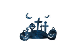 Watercolor Spooky Cemetary Halloween Craft Cut File By Creative Fabrica Crafts