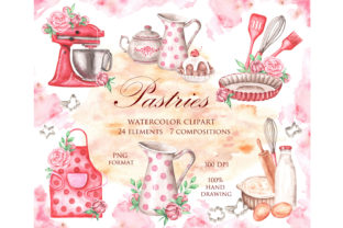 Baking Watercolor Clipart. Pastry, Chef Graphic Illustrations By sabina.zhukovets