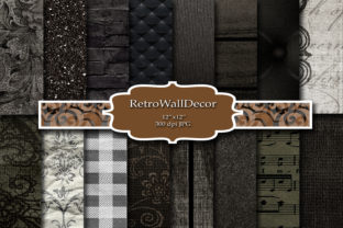 Print on Demand: Black Digital Paper Graphic Backgrounds By retrowalldecor