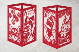 Cat Christmas Lantern Template Graphic 3D SVG By LilMeStores