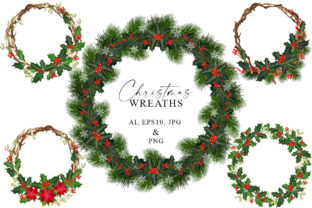 Christmas Wreaths Graphic Objects By Alex design shop