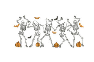 Halloween Skeleton Dancing Halloween Embroidery Design By carl_embroidery