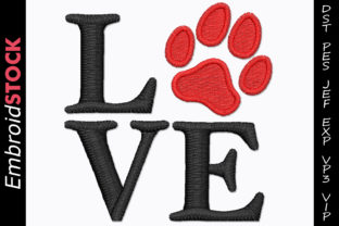 Love Dog Paw Dogs Embroidery Design By embroidstock