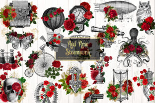 Print on Demand: Red Rose Steampunk Clipart Graphic Illustrations By Digital Curio 1