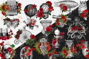 Print on Demand: Red Rose Steampunk Clipart Graphic Illustrations By Digital Curio 2