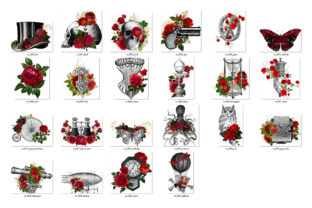 Print on Demand: Red Rose Steampunk Clipart Graphic Illustrations By Digital Curio 3