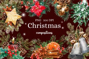 Print on Demand: Watercolor Christmas Clipart, Xmas PNG Graphic Illustrations By CherrypearStudio