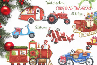 Watercolor Christmas Transport Graphic Illustrations By KaleArtCreative