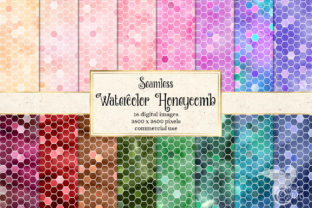 Print on Demand: Watercolor Honeycomb Digital Paper Graphic Textures By Digital Curio