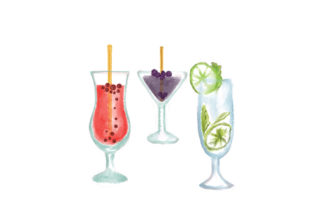 Watercolor Cocktail Food & Drinks Craft Cut File By Creative Fabrica Crafts