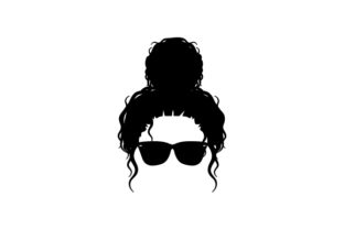 Women's Curly Hair Bun and Glasses Beauty & Fashion Craft Cut File By Creative Fabrica Crafts