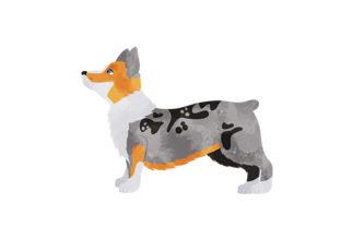 Speckled Watercolor Corgi with Stubby Tail Dogs Craft Cut File By Creative Fabrica Crafts