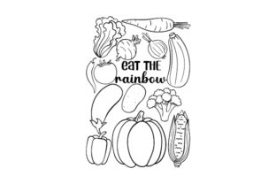Eat the Rainbow Coloring Page Children Craft Cut File By Creative Fabrica Crafts