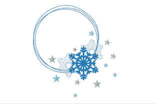 Circle Frame with Snowflakes Christmas Embroidery Design By ArtDigitalEmbroidery