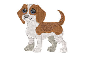 Print on Demand: Cute Puppy Beagle Dogs Embroidery Design By Dizzy Embroidery Designs