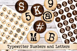 Print on Demand: Digital Typewriter Letters and Numbers Graphic Objects By Digital Attic Studio