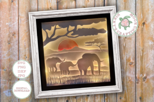 Elephant 3d Shadow Box Template Graphic 3D Shadow Box By NikkysCraftingRoom