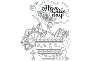 Flower Tea Cup Coloring Page. Graphic Coloring Pages & Books Adults By ekradesign