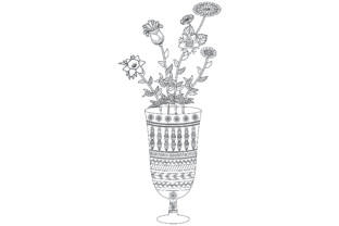 Glass Flower Coloring Page Graphic Coloring Pages & Books Adults By ekradesign
