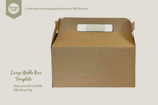 Print on Demand: Large Gable Box Template - SVG DXF PDF Graphic 3D SVG By DESIGNS NOOK