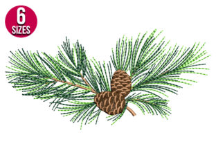 Print on Demand: Pine Cone Single Flowers & Plants Embroidery Design By Nations Embroidery