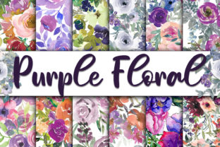 Print on Demand: Purple Floral Digital Papers Graphic Backgrounds By oldmarketdesigns