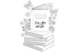 Reading Book Floral Coloring Page. Graphic Coloring Pages & Books Adults By ekradesign