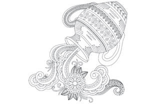 Silhouette of Jug Coloring Page Graphic Coloring Pages & Books Adults By ekradesign