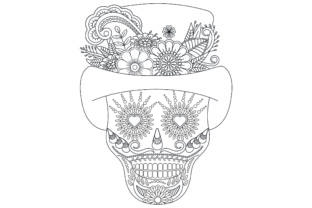 Skull Coloring with Flower Style. Graphic Coloring Pages & Books Adults By ekradesign