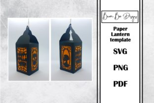 Skull Halloween Paper Lantern Template Graphic 3D Houses By Beam Box Designs