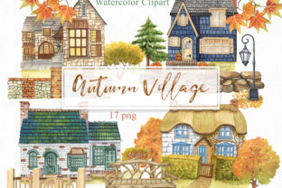 Watercolor Autumn Village Clipart Graphic Illustrations By KaleArtCreative