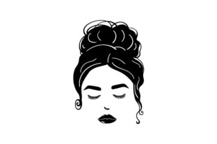 Messy Bun, Eyelashes and Lips Beauty & Fashion Craft Cut File By Creative Fabrica Crafts
