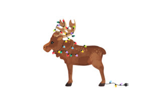 Watercolor Style Moose with Horns Wrapped in Christmas Lights Animals Craft Cut File By Creative Fabrica Crafts