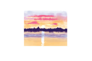 Sun Rising and Setting Watercolor Designs & Drawings Craft Cut File By Creative Fabrica Crafts