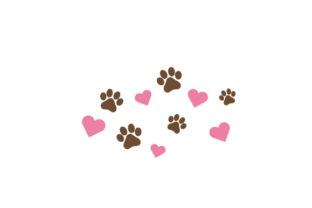 Paw Print and Heart Dogs Craft Cut File By Creative Fabrica Crafts 1