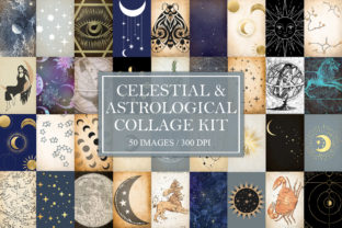 Print on Demand: Celestial & Astrological Collage Kit Graphic Backgrounds By Digital Attic Studio